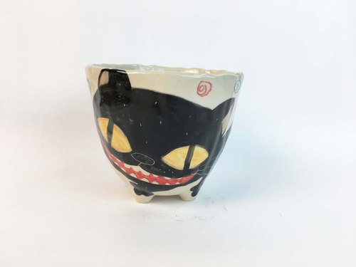 Nice Little Clay Handmade Bowl_Happy Black Cat 0214-03