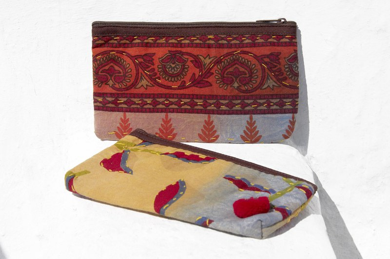 Birthday gift Valentine's Day gift limited handmade Boho embroidery storage bag / ethnic wind bag / camera bag / leather cosmetic bag / cell phone bag / travel clutch - leaf hand-embroidered ethnic style cosmetic bag