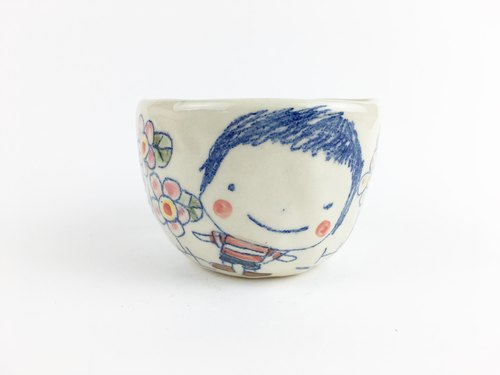 Nice Little Clay Handmade Small Bowl _ Boy Girl With Flowers 20