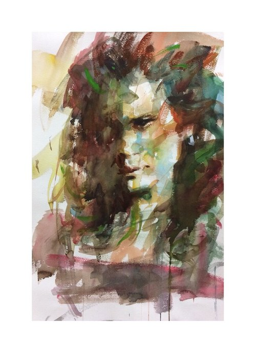 Watercolor portrait / single / (without box)
