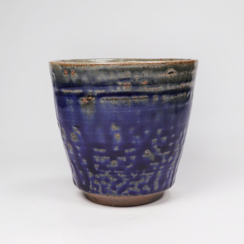Ming bud kiln l Chai burning iron spot gray blue flow glaze raw ore tea cup soup swallow