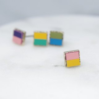 Mystery earrings ear pin - pink yellow hit color (pair) [can change ear clip]