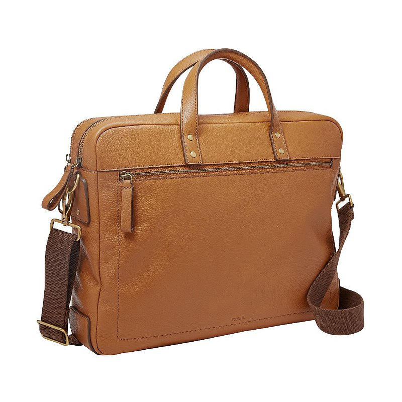 FOSSIL Haskell 15-inch laptop camel leather business travel briefcase MBG9424231