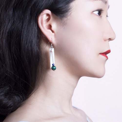 YUNSUO-original design-Malachite long asymmetric earrings