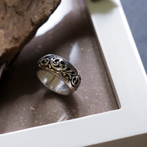 Flow Cloud - Moire Engraving Ring (Narrow) 925 Silver Ring