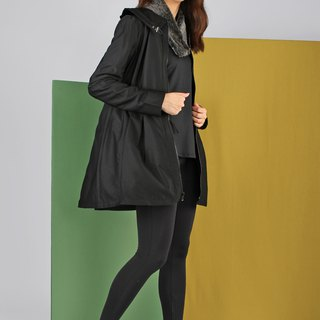 Lotus leaf collar waist long coat