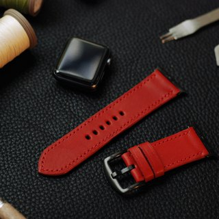 Applewatch leather hand strap strap - chili red [Fu Lie area carved leather] [planted leather]