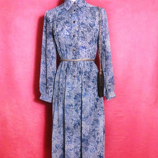 Flower smudged chiffon long-sleeved vintage dress / brought back to VINTAGE abroad