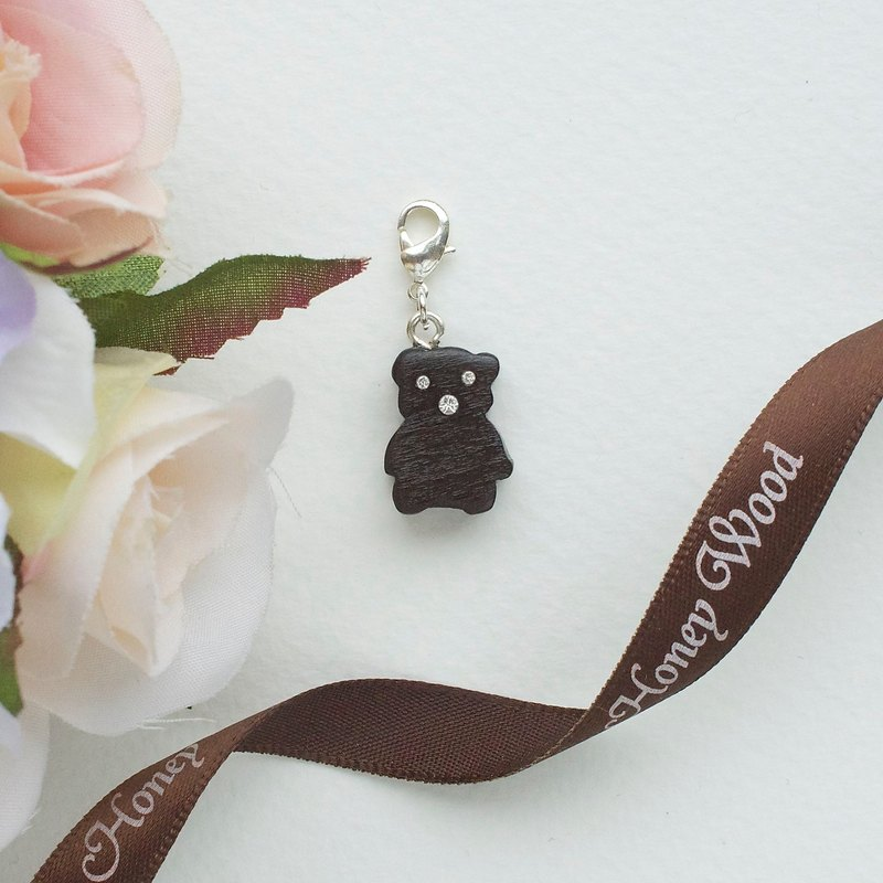 Teddy bear wooden charm (can choose gold / silver plated Lobster clasp)