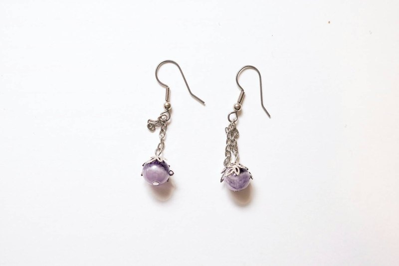 [Pupil] purple hand made natural stone earrings person X (Amethyst)
