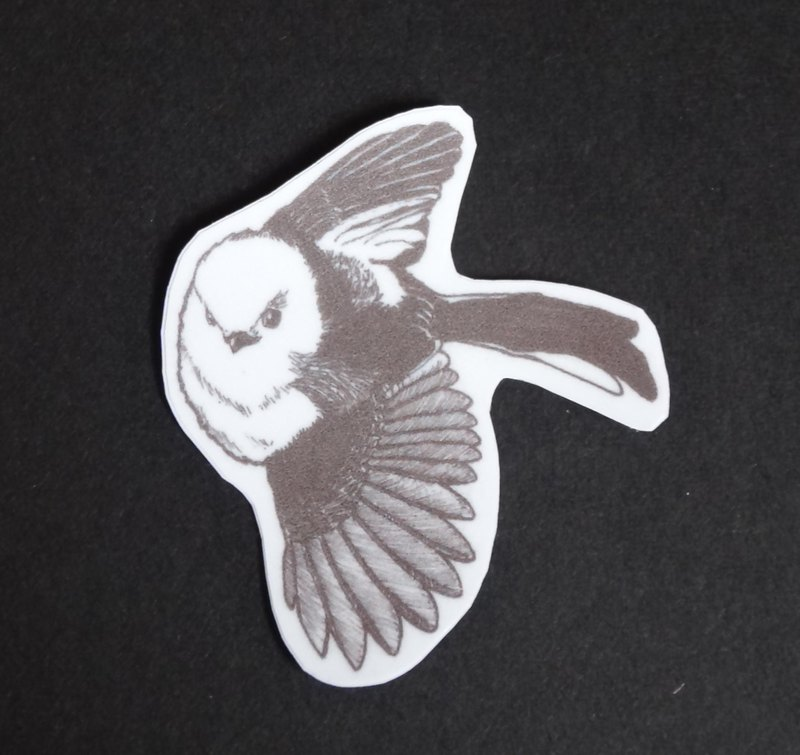 Snow の Fairy Silver Monkey Long-tailed Tit Waterproof Sticker (winged wings)