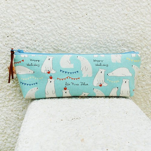 Apple Polar Bear Pencil Bag _ blue