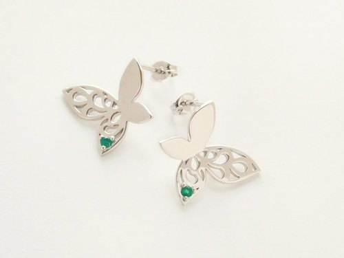 Butterfly's Earrings 【Farasha】 (Silver, Green Onyx)