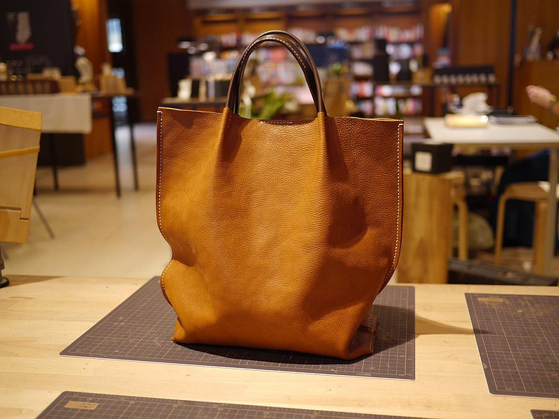 Large handmade leather tote bag