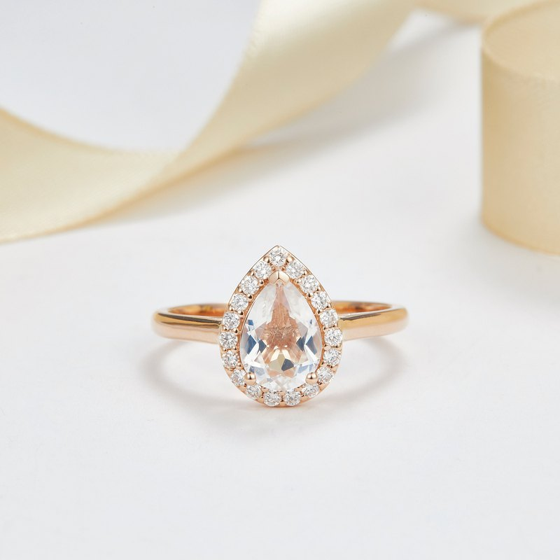 18K SOLID GOLD DIAMOND HALO MOONSTONE ENGAGEMENT RING - R 112