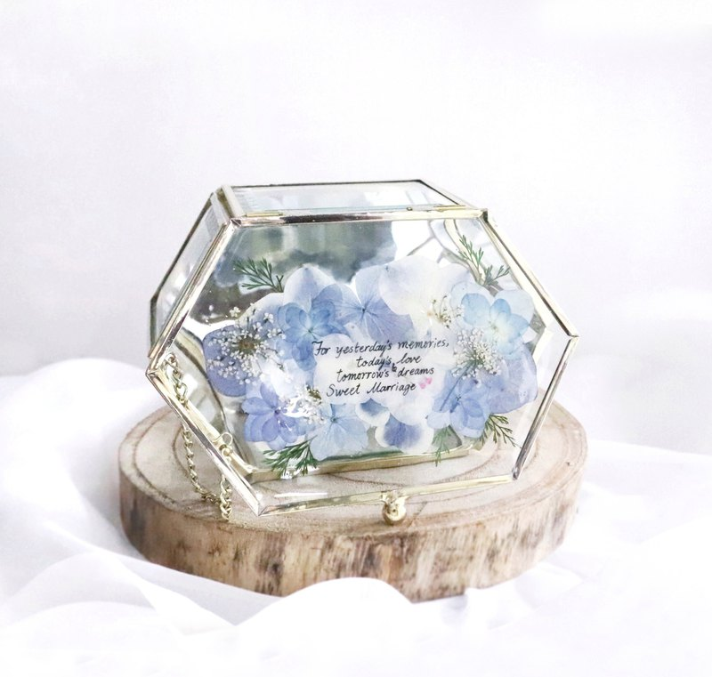 Pressed flower with Handwriting Accessory Jewelry Glass Box Wedding Gifts/Blue