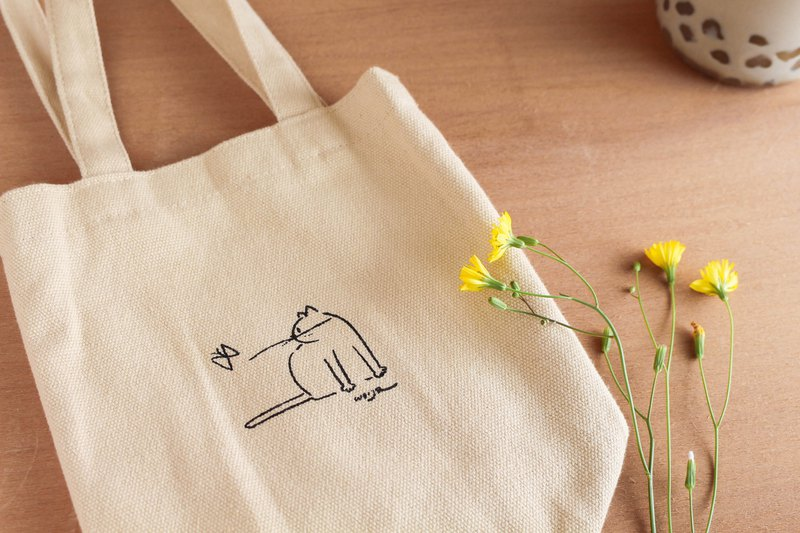 Handmade Silkscreen Beverage Bag-Milk Tea Cat