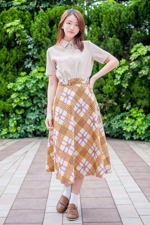 Vintage / Golden Yellow Checkered Skirt with Belt