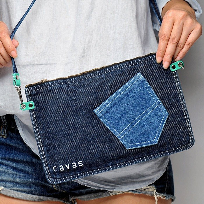 Pad shoulder bag + denim cloth strap