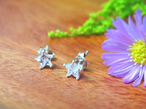 Glamor Rexhi / Shining Zircon 6 Paw Star Earrings / 925 Sterling Silver