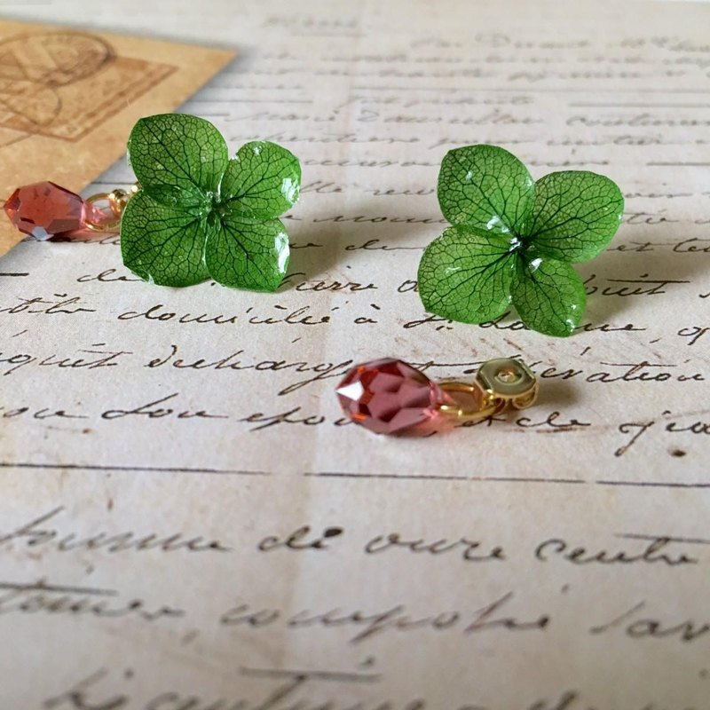 Emerald / Hydrangea Earrings and Agate Catch