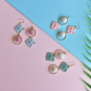 Pink fight white square ring braided asymmetric earrings