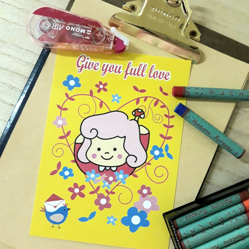Little mushroom little girl postcard / give you full love