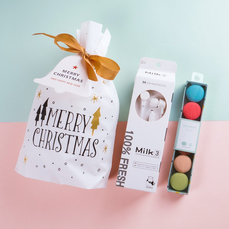 (Fun Christmas Gift Set) MILK Wired Stereo Headphones + Macaron Coil | Exchange Gifts