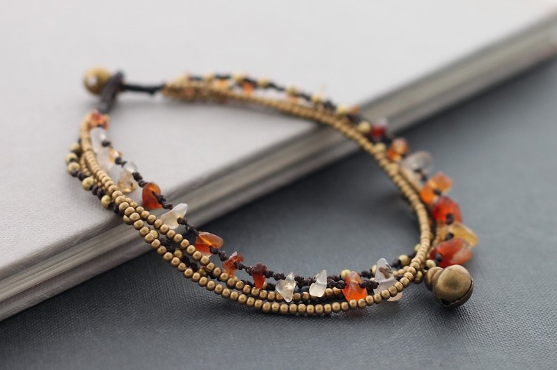 Carnelian Layer Anklets Brass Chain Strand Woven Braided