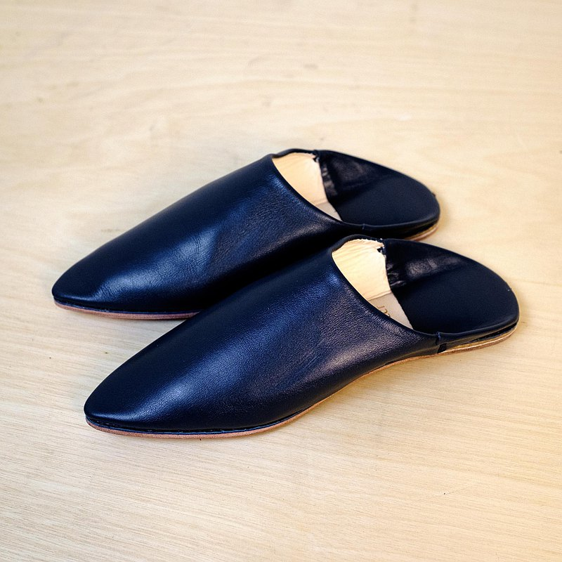 Babouche Moroccan handmade shoes-real sheepskin-pointed models-dark blue