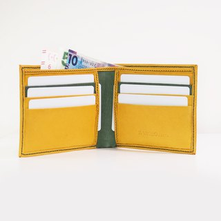 Small Short Wallet - Yellow with golden paw green inner