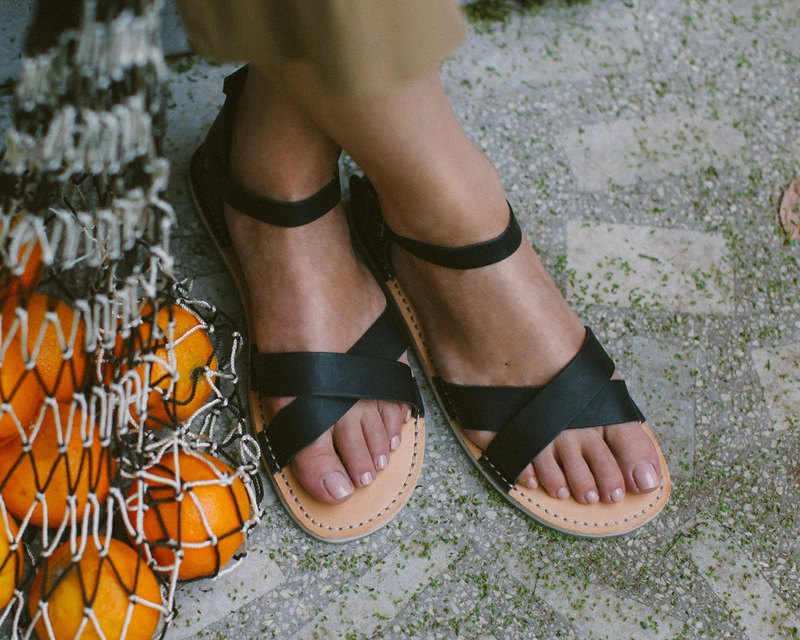 Black Sandals, Summer Leather Sandals, Women Sandals, Summer Shoes