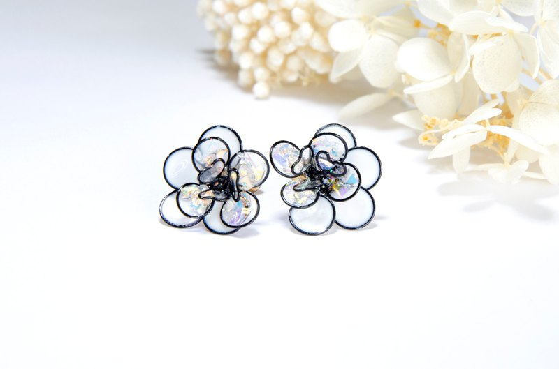 Classic black and white - resin earrings with Silver 925