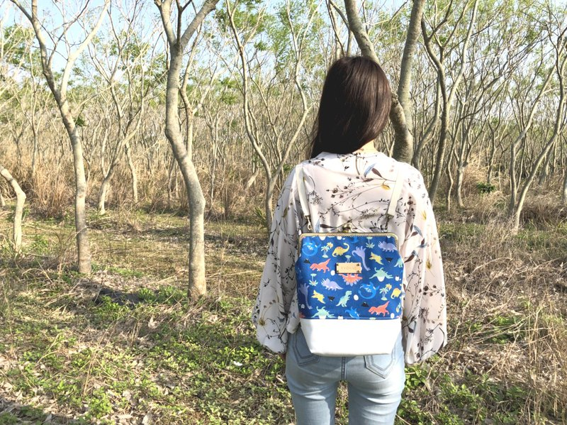 Bluish Dinosaur Big Blue Gold Backpack Backpack / Free Print Name Leather Label