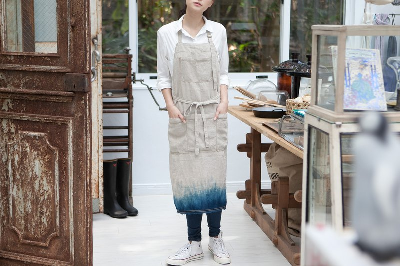 Natural Linen & Hand Dip-dyed Apron  Free S/H For TW HK MO TH