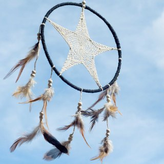 National style boho hand-woven cotton and linen dream catcher dream Cather-black white stars