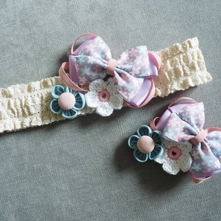 Handmade Purple ribbon bow baby/ kid Headband and hair clip set
