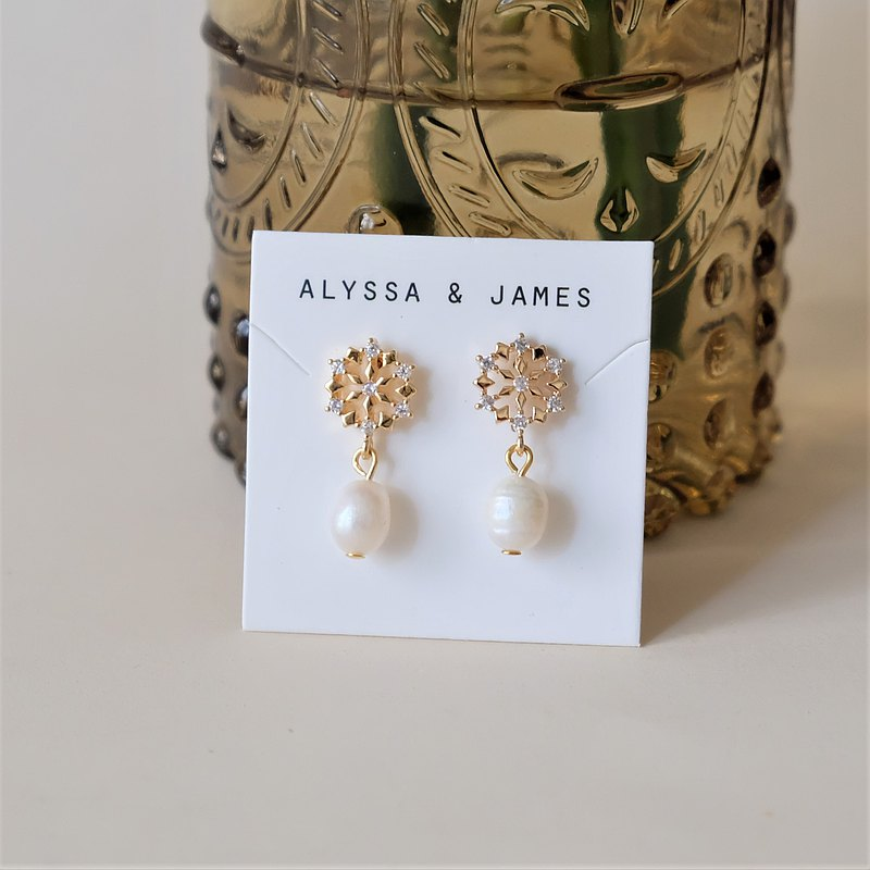 ALYSSA & JAMES Snowflake Zircon Natural Pearl Earrings