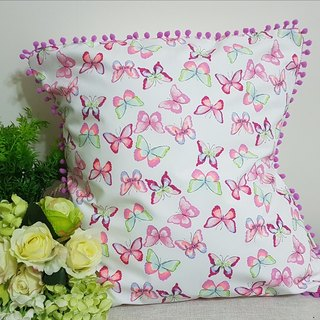 Scandinavian style pink peach butterfly pattern, pink peach purple hair ball pillow / pillow
