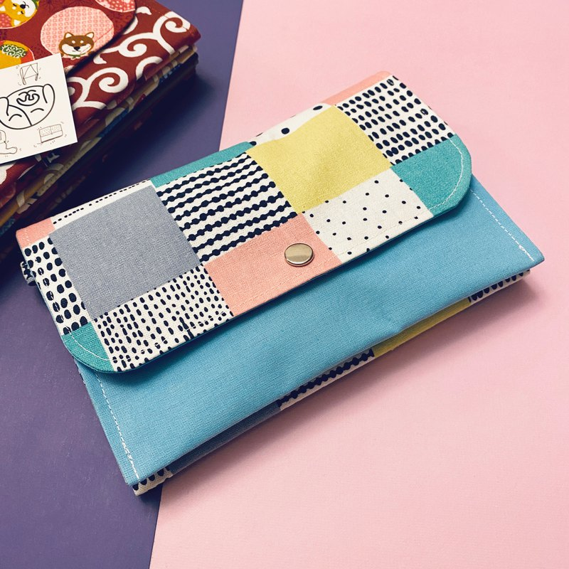 [Pink Blue Nordic Style Geometric Lattice] ID Bag Debris Document Storage Epidemic Pack