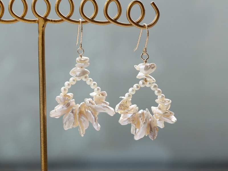 14kgf-frill pearl pierced earrings