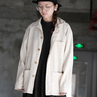 Cotton white plant dyed organic cotton retro tooling jacket neutral lapel shirt raglan sleeves men and women jacket