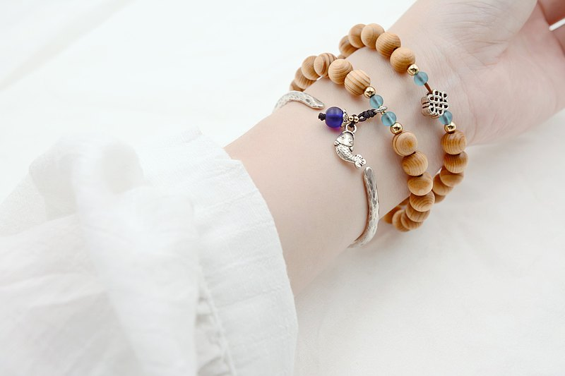 Taiwan cypress bracelets 42 pieces of 8mm-liyue dragon gate (blue)|Create a beautiful moon with solid wood ball bracelet