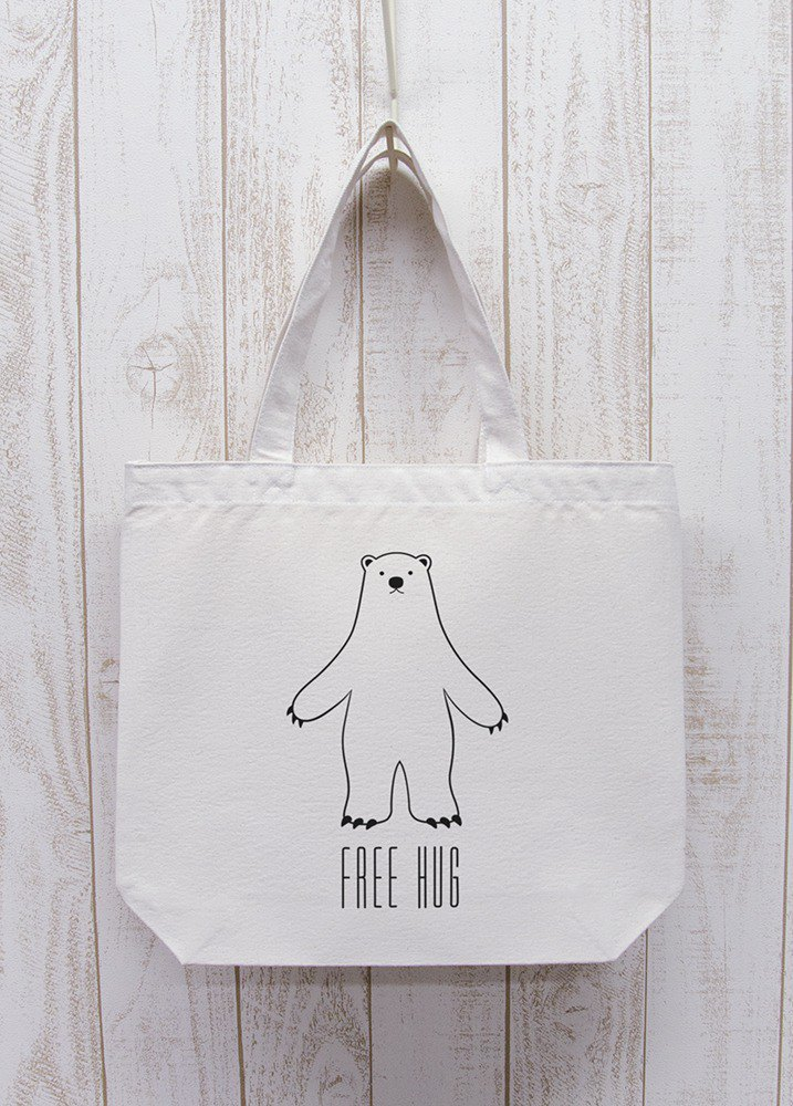 FREE HUG Polar Bear Tote Natural / R013-BT-NA