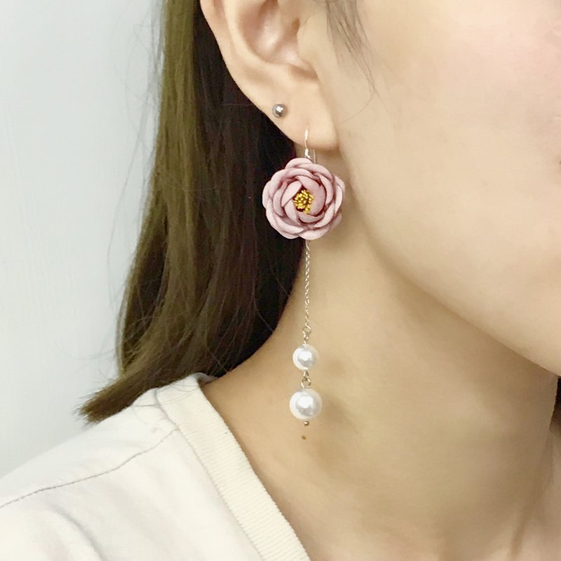 Leather Camellia Pearl Long Earrings