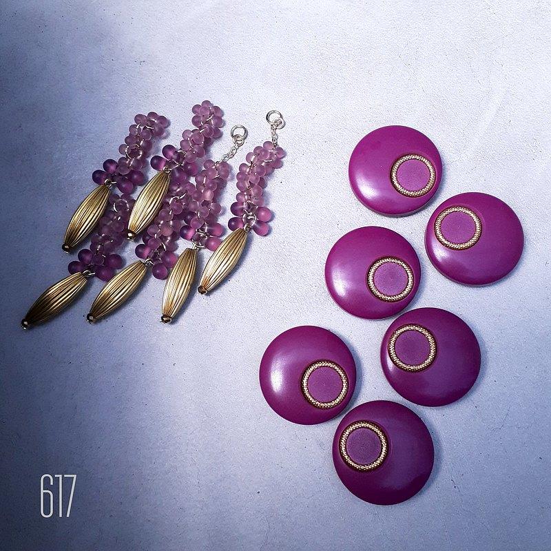 2路耳環配粉紅色紫色按鈕