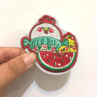 """Dog star folder"" original embroidery brooch / watermelon Girl"