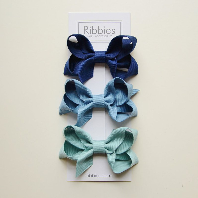 British Ribbies Double Layer Bow 3 Set - Blue Series