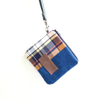 E * group square patchwork wallet tannin dark blue color gift