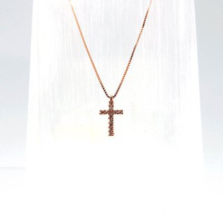 Silver Cross Necklace Thick Rose Gold Length 15mm Pendant Rose Gold Plated Chain